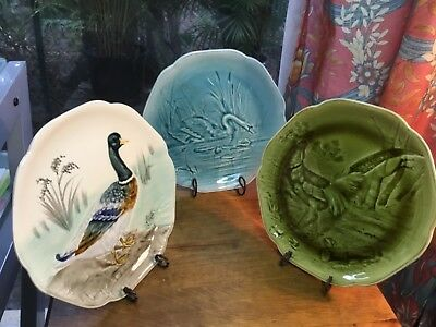 French Antique Plates by Choisey le Roi c.late1800s Set of Three