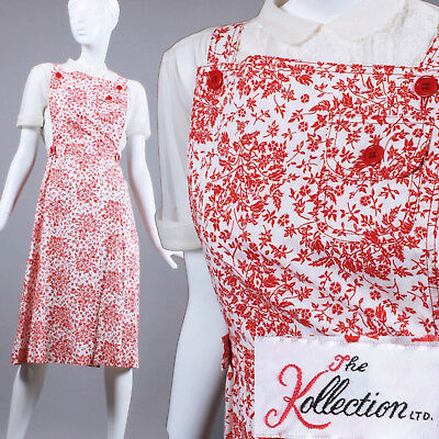 S Vintage 1940s Red White Apron Sun Dress Pinafore Jumper Sleeveless Summer 40s
