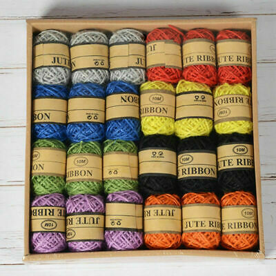 24 ROLLS TWINE Jute Rope Colored Cord Wrapping String