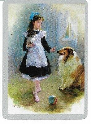 G-36 swap playing card MINT cond ART DECO STYLE LITTLE GIRL WITH A COLLIE DOG