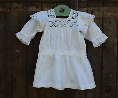 Antique French Victorian Edwardian Cotton Broderie Anglaise Dress Age 2 - 4  22""