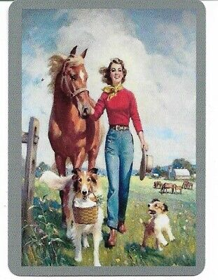 G-38 swap playing card MINT cond VINTAGE STYLE COWBOY LADY WITH A HORSE AND DOGS