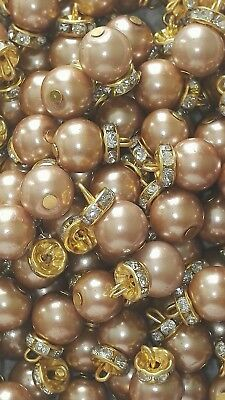 MULTI COLOURED PEARL BUTTONS WITH GOLD 20 FOR £2.00 ONLY 1.5CMS IN LENGTH.