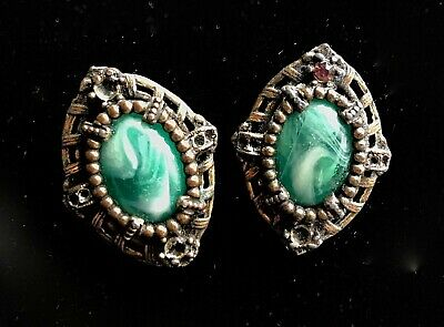 "Vtg or Antique Green Art Glass Rhinestone Screw Back Earrings 1 1/2"" Repair M247"