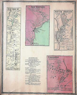SOUTHBURY CT Antique Original 1868 Map of Districts  by Beers Atlas