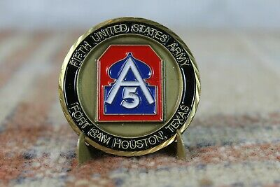 Military Brass Challenge Coin Fifth U.S Army Fort Sam Houston TX