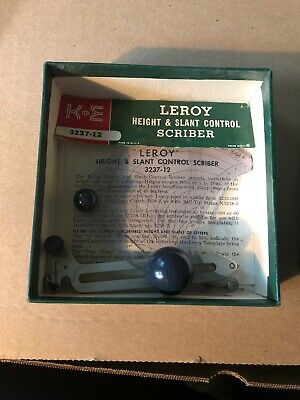 Vintage drafting tool, K+E Leroy Height & Slant Control Scriber 61 0020, in box