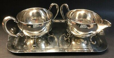 Hunt Silver Co Sterling Silver Tray, Creamer and Sugar Bowl