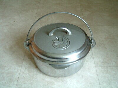 Vintage Griswold Chrome Plated #8 Cast Iron Dutch Oven & Lid Cover CLEAN!