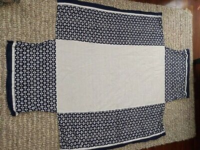 Pottery Barn White Blue Patterned Crib Skirt