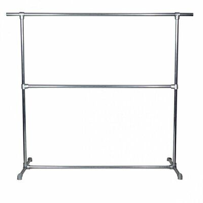 Commercial Grade Industrial Single Clothes Rack Galvanised Double Bar Heavy duty