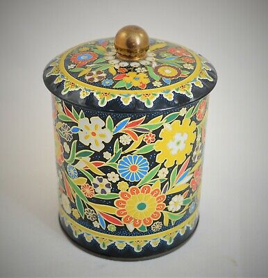 Vintage Daher Long Island Cylindrical Tin Container Made In England Floral