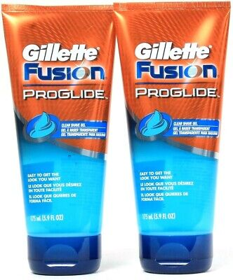 2 Ct Gillette Fusion 5.9 Oz ProGlide Non Foaming Clear See Where To Shave Gel