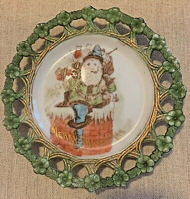 "Antique Milk Glass ""MerryChristmas"" Handpainted smoking Santa down chimney c1900"