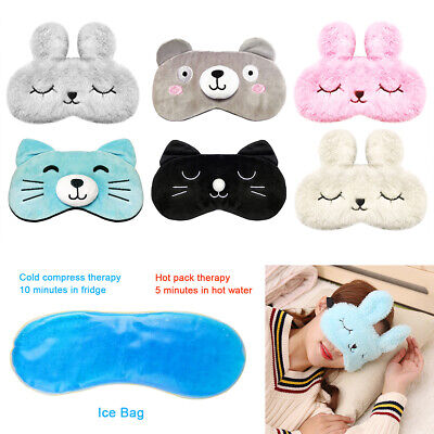 Cute Eye Sleep Mask Cover Rest Travel Relax Sleeping Blindfold Cooling Pad