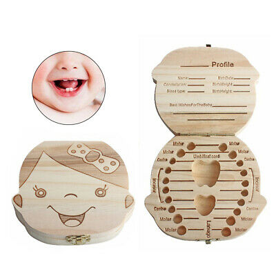 Wooden Kids Baby Tooth Box Organizer Teeth Wood Storage Box for Boy Girls Child