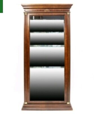 Neoclassical Lighted Mahogany Curio Display Cabinet: 3 Shelves, Mirrored Backing