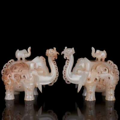 Chinese Exquisite Hand-carved Hetian jade Elephant Statue a pair