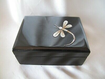 Black Lacquer Velvet Lined Trinket Box With Dragonfly Decoration