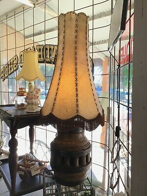 Antique vintage large French table lamp wagon wheel base leather shade
