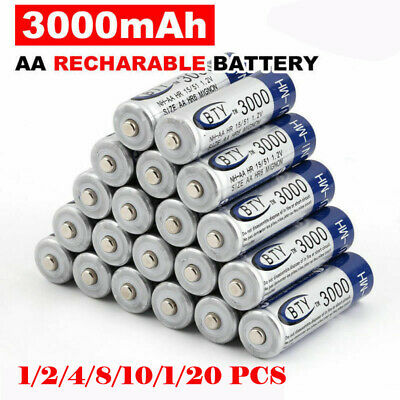 Lot BTY 1.2V AA 3000mAh Ni-MH Rechargeable Battery Batería Charger For Toys FR