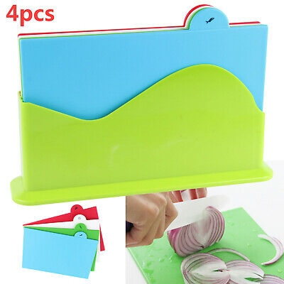 Coloured Chopping Board Set | Non-slip Index Cutting Boards With Stand