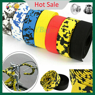 2Pcs Road Bike Cycling Sports Bicycle Cork Handlebar Wrap Tape + 2 Bar Plugs GG