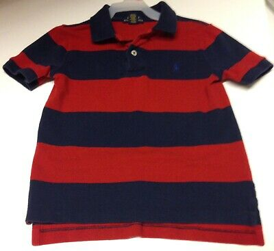 Ralph Lauren Polo RED & BLUE Striped Polo Shirt Boys 4/4T Great For 4th Of July!