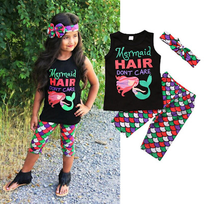 NEW Mermaid Hair Don't Care Girls Tank Top Fish Scale Leggings Headand Outfit