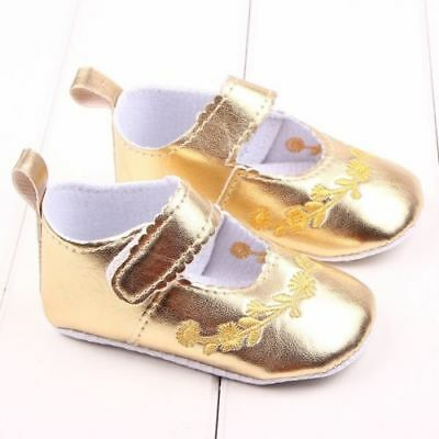 b8804f484495 NEW BABY GIRLS Gold Glitter Sequin Mary Jane Crib Shoes 0-6 6-12 12 ...