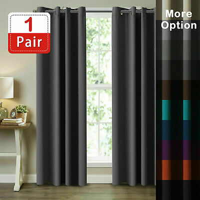 Pair Thermal Blackout Curtains Eyelet Ring Top Ready Made Curtain Free Tie Backs