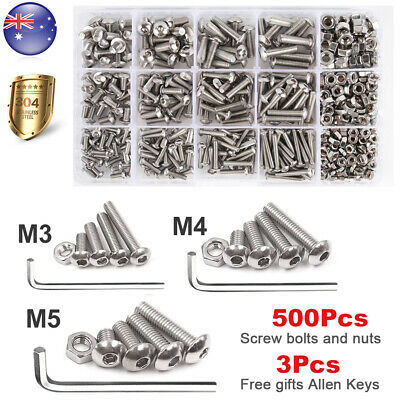 500PCS M3 M4 M5 Screw Bolts and Nuts Kit Stainless Steel Hex Head &3x Allen key