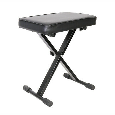 Pro Piano Bench Padded Iron Keyboard Stool Adjustable Height Leather Seat