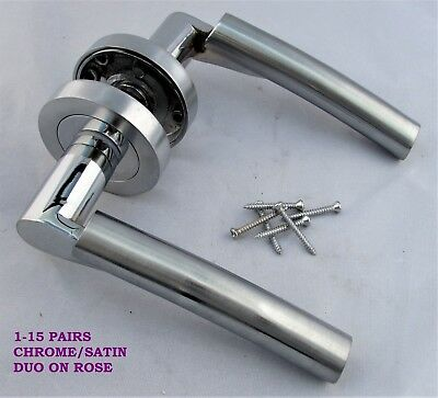 1-15 PAIRS Chrome Satin Duo Door Handles on Rose Verona FREE DELIVERY D18