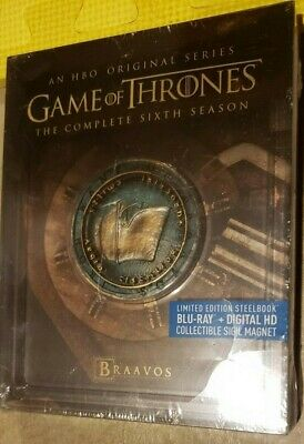 Game of Thrones Season 6 STEELBOOK (BRAAVOS) (Blu-ray/Digital) NEW shell crack