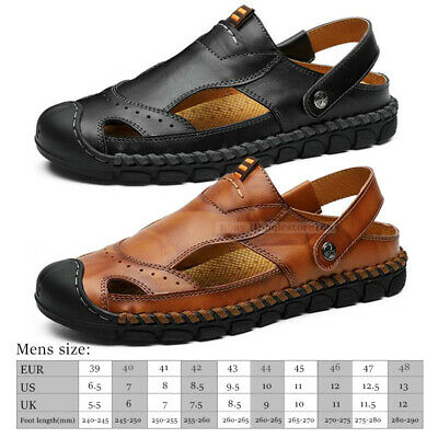 9564a35f9 Men's Hand Stitching Outdoor Closed Toe Leather Sandals Casual Beach  Slippers US
