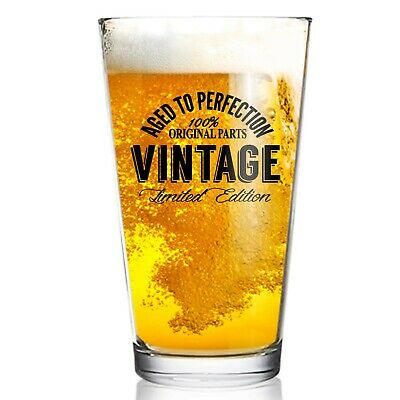 Happy Birthday Vintage Edition Beer Glass for Men and Women (16 oz) | Suitabl...