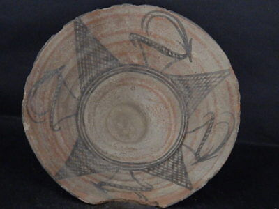 Ancient Large Size Teracotta Indus Valley Painted Bowl With Ibex 2000 BC #IK474#