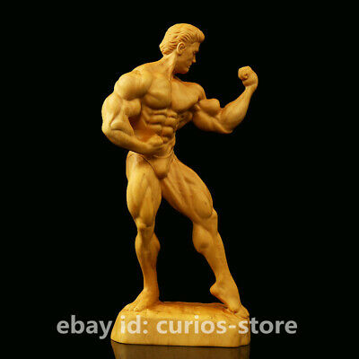 Chinese Exquisite Box-wood Hand-carved Strong Muscle Man Bodybuilding Art Statue