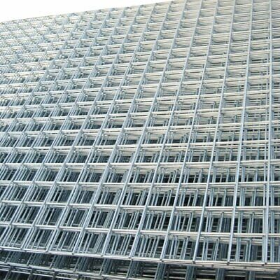 "Welded Wire Mesh Panel 8ft x 4ft Galvanised Steel Sheet Metal Grid 2"" / 50mm Hol"