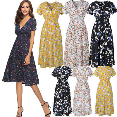 Women Summer Sundress Tunic V Neck Short Sleeve Boho Floral Midi Chiffon Dress