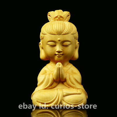 65MM Chinese Box-wood HandCarved Buddhism Kwan-yin Small Guan Yin Guanyin Statue