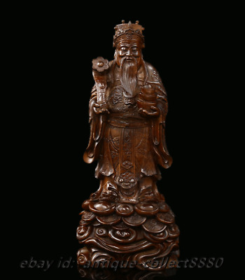 """7.9"""" Chinese Box-wood Hand-carved Stand Mammon Money Wealth God Hold Ruyi Statue"""