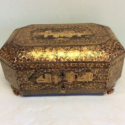 Antique Chinese Footed Highly Decorated Sewing Box 12.5x9x5.5