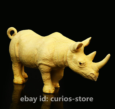"4.7""Fine Chinese Exquisite Box-wood Hand-carved Lovable Animal Rhinoceros Statue"