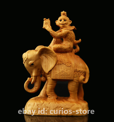 "5.1"" Chinese Box-wood Hand-carved Animal Monkey Ride Elephant Lucky Statue 拜相封侯"
