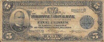 Philippines  5  Pesos  Series  of 1921  P 53a  Circulated Banknote #8LB