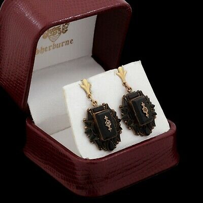 Antique Vintage Victorian 14k Gold Mourning Black Jet Seed Pearl Dangle Earrings