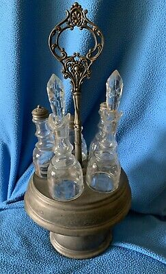 VINTAGE Crystal and Pewter Etched Glass Cruet Set 5 pcs Caddy Erie, PA