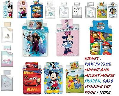 Baby Bedding Set 135X100 TO FIT COT or COT BED -DISNEY, FROZEN ,CARS,PAW PATROL